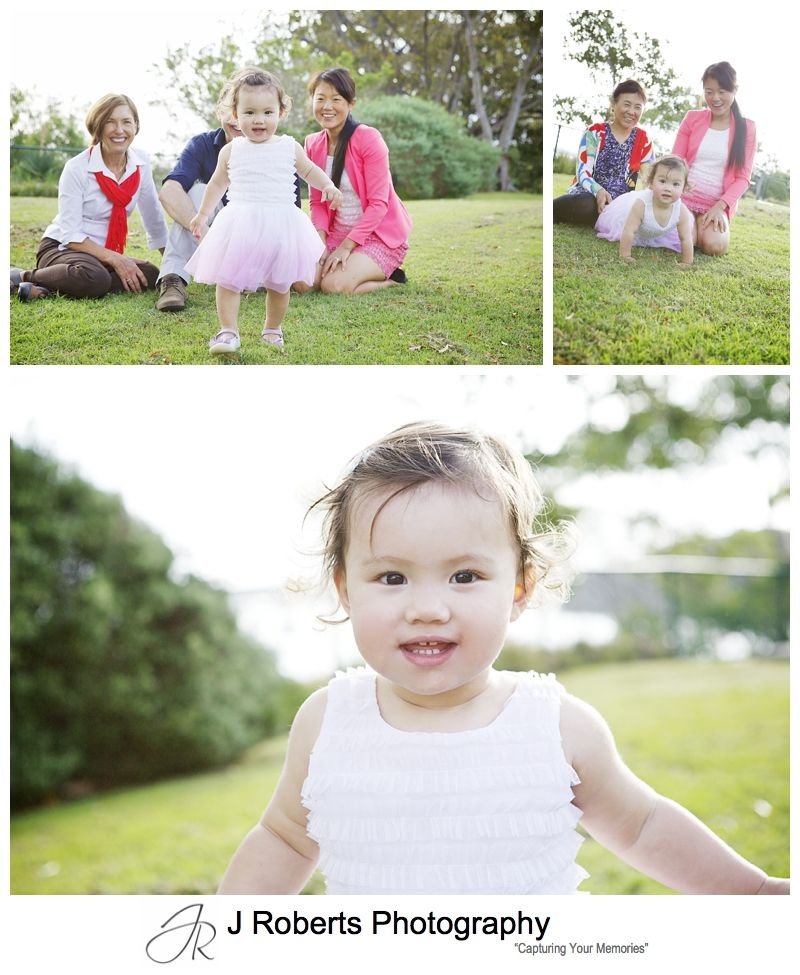Family portrait with toddler and grandparents - sydney family portrait photography